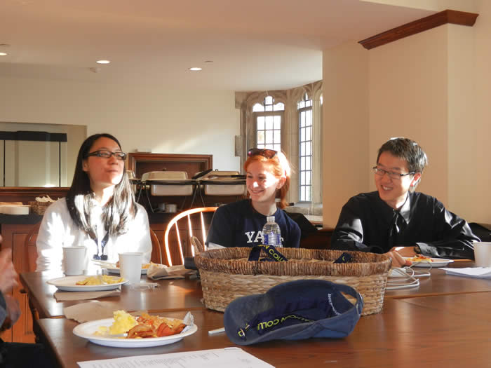 59 FELLOWSHIP WINNERS AMY TSANG '12 AND DENNIS WANG '14...CENTER; '59 LIASON MARJ BERMAN '13