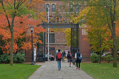 Views of Cross Campus during the fall.